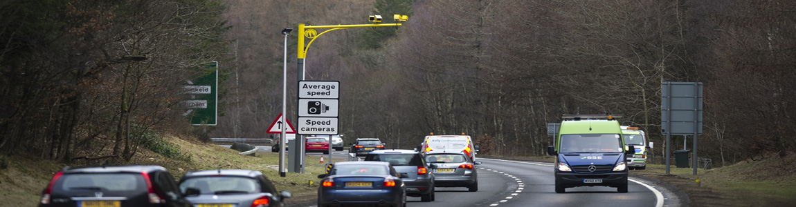 average speed camera overlooking A class road with traffic