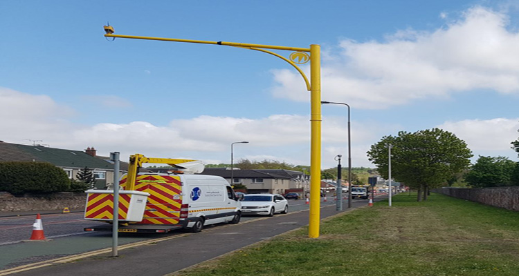 average speed camera being installed at Old Dalkeith Road